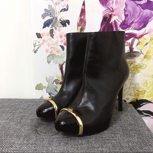 Tory Burch Pacey Captoe Black Leather Ankle Boots